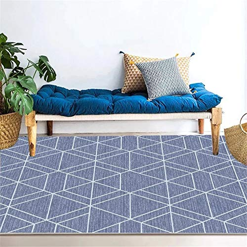 MLKUP Microfiber Thickened Non-Slip Rug Japanese Style Simple Rectangular Coral Velvet Skin-Friendly Mat Geometric Pattern Coffee Table Bedroom 80x120cm