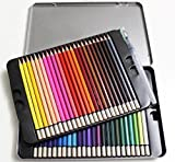 Meiz 48-color Art Colored Watercolor Pencils for Artist Sketch and Secret Garden ,Set of 48 Assorted Colors with Water Brush, Metal Tin Case