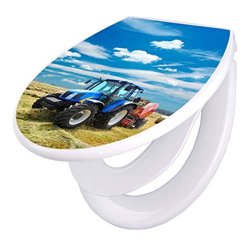 banjado Familien WC Sitz mit Absenkautomatik | Toilettendeckel mit Kindersitz | Klodeckel weiß | Toilettensitz mit Soft Close | 44 x 37 cm WC Deckel mit Motiv Traktor