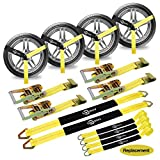 """Trekassy 2""""x 120"""" Wheel Net Car Tie Down Straps Heavy Duty with Flat Hooks, 3333lbs Safe Working Load, 4 Pack Ratchet for Trailers with 8 Tire Straps, 2 Axle Straps"""