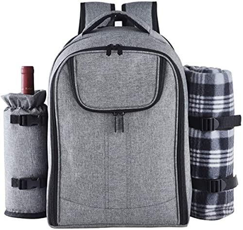 Mochila De Picnic Juego De Picnic para 4 Personas con Compartimento De Refrigeración Aislado Y Manta para Acampar Al Aire Libre