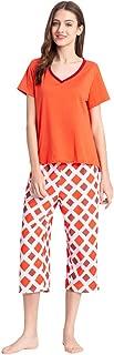 YIJIU Womens Plaid Pajama Sets Short Sleeve Top with Capri Pants Sleepwear Pjs
