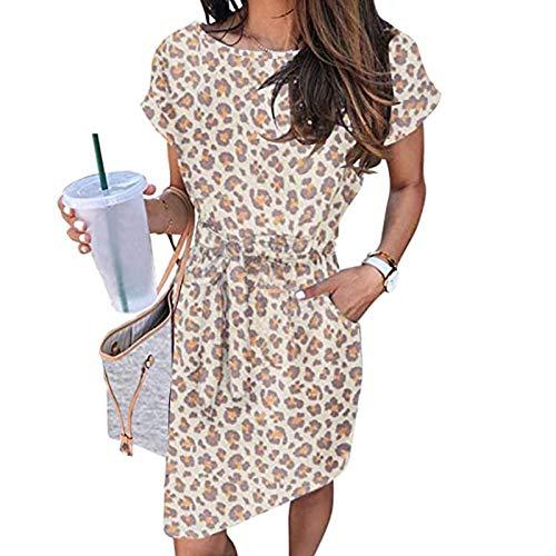 Nueva Falda Casual Mujer Honda Casual de Bolsillo de Color sólido de Manga Corta con Cuello en O Informal de Color Puro Tie-Dye Grande para Mujer,Falda para Danza, Larga, para Mujer