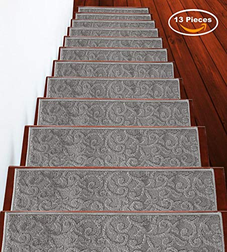 Stair Treads Leaves Collection Contemporary, Cozy, Vibrant and Soft Stair Treads, 9'' x 28'', Gray, Pack of 13 [100% Polypropylene] Tape Applied
