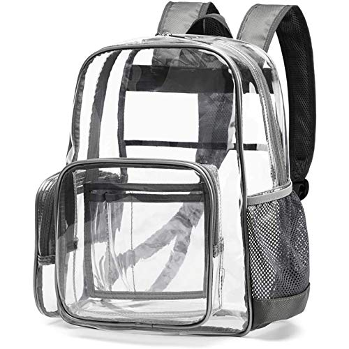 Clear Backpack, Cambond Heavy Duty Transparent Backpacks with Reinforced Straps (Grey)