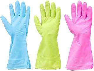 3 pares de limpieza de cocina a prueba de agua Guantes de goma para lavar platos Limpieza de lavandería (tamaño mediano, colores brillantes para los dedos)