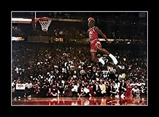8 x 10 All Wood Framed Photo Michael Jordan Famous Foul Line Dunk