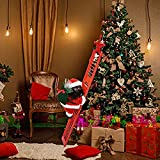 Electric Climbing Santa Claus on Ladder, Creative Christmas Climbing Ladder Santa with Music, Black Man Santa Climbing Ladder Plush Doll Hanging Ornament for Xmas Party Wall Tree Decoration (Red)