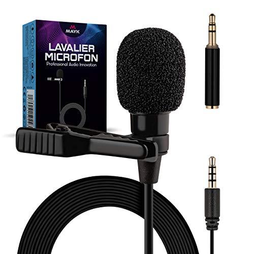 MAYK® Premium Lavalier Mikrofon – Ansteckmikrofon – Omnidirektional – [0,04kg] – [3,5mm] TRS/TRRS – [3X] Windschutz – Inkl. [2m] Kabel – Vergoldete Stecker – Für iPhone, Interviews, Computer, Kamera