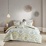 Urban Habitat Cotton Comforter Set-LuxeTraditional Design All Season Cozy Bedding with Matching Shams, Decorative Pillow, King/Cal King(104'x92'), Medallion Yellow 7 Piece