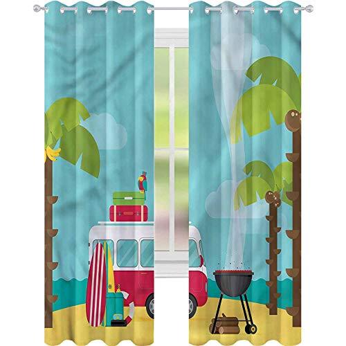 YUAZHOQI Cortina opaca aislante termica Explorore Caravan Camping Beach Cortinas para puertas francesas de 132 x 241 cm (2 paneles)