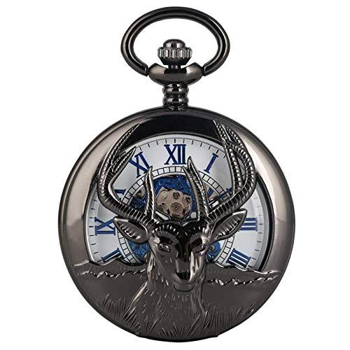 LXDDP Reloj de Bolsillo Retro Cabra Negra Ahueca hacia Fuera Reloj de Bolsillo mecánico Moda Azul Número Romano Esfera de la Cara Joyería de aleación Premium Reloj de Cadena de muñeca