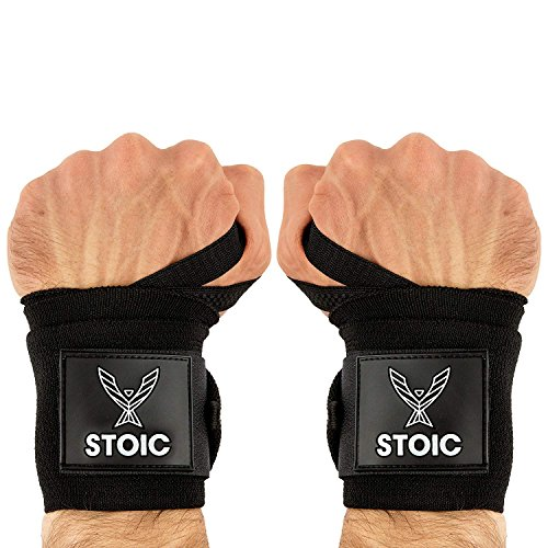 Stoic Wrist Wraps Weightlifting, Powerlifting, Cross Training, Bodybuilding with Thumb Loop. Professional Grade for Gym Workout, Men and Women Weight Lifting and Strength Training Black 18 Inch