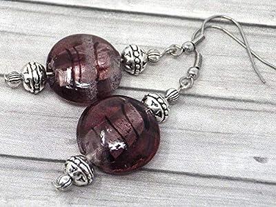 Pendientes Venezia en acero inoxidable y perlas en cristal de Murano violeta