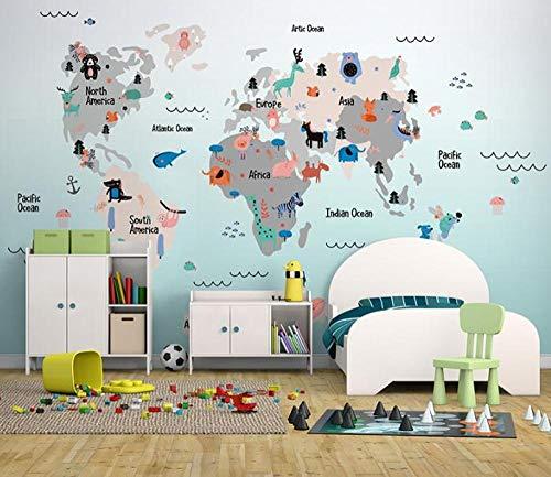 3D vliesbehang originele leuke karikatuur-wandschilderij behangen van dieren wereldkaart 3D voor kinder-baby-kamer-kleuterschool 250*175 250 x 175 cm.