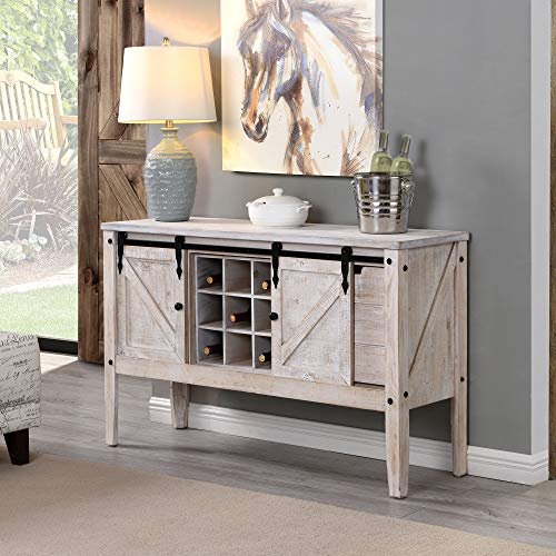 FirsTime & Co. Quincy Farmhouse Barn Door Buffet and Wine Console Table, American Crafted, Aged White, 47 x 15 x 30