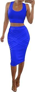 LaSuiveur Womens Crop Top Midi Skirt Outfit Two Piece Bodycon Bandage Dress