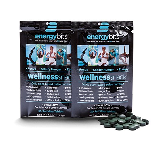 ENERGYbits Pure Spirulina Tablets – Pack of 2 Single Servings (7500mg per Serving) – Non-GMO, Non-Irradiated, Raw, Blue Green Algae – Keto, Vegan Friendly