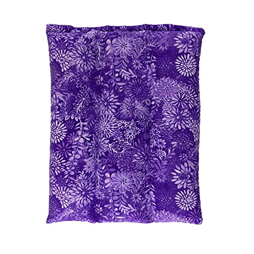 Lumbar Heating Pad Microwavable – Flexible & Easy to Use Hot and Cold Aromatherapy Pack for Back Pain Relief, Neck Pain, Body Aches and Stiffness, Headaches, and Cold Weather Relief - Purple Flowers