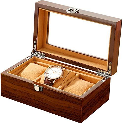 Caja de reloj LCSD Caja De Reloj De Madera Pulsera Caja De Almacenamiento De Joyería 3 Rejilla Marrón Cristal Transparente Caja De Presentación De La Ventana Portátil De Viaje Adecuado for Hombres Y M
