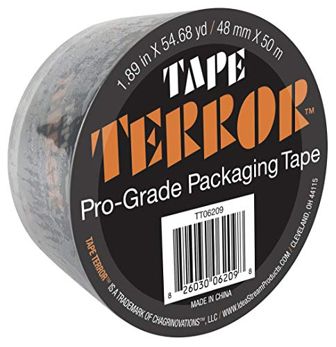 """Tape Terror Pro-Grade Tape Single Roll - Heavy Duty Adhesive, Commercial, Moving, Box, and Packing Sealing Tape, 2.36 Mil Thick, 48mm x 50 Meters (1.89"""" x 54.68 yds) per Roll"""