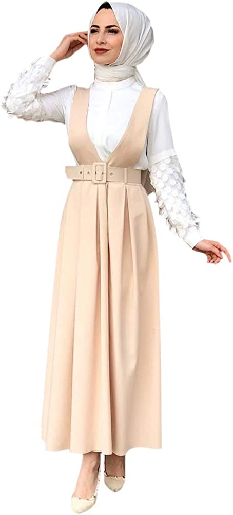 Xingsiyue Muslim Suspender Skirt for Women - Modest Islamic High Waist Solid Color Pleated Cocktail Dress
