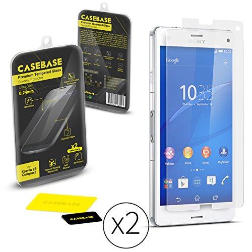 CaseBase BaseZip–Cristal–Protector de Pantalla para Sony Xperia Z3Compact–Case Base de borrar antiarañazos de Premium Screen Protector Protector–9H Hardness de Vidrio Templado