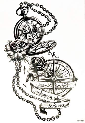 PARITA Big Tattoos Rose Halskette Kompass Uhr Cartoon Tattoo Aufkleber Neue Old School Tattoo Wasserdichte Designs Body Art Fake Removable für Männer Frauen (1 Blatt) (01)