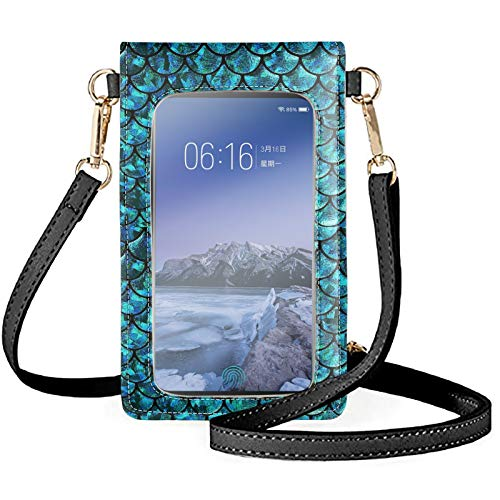 HUGS IDEA Elegant Cellphone Bag for Women, Turquoise Mermaid Scales Faux Leather Crossbody Shoulder Bags Cell Phone Wallet Holder