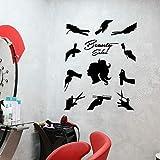yaonuli Tatuajes de Pared salón de Belleza peluquería decoración Vinilo Pegatina Moda Mujer Mural 63X76cm