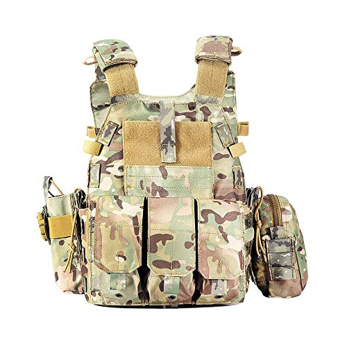 MAISDO Gilet Tactique Extérieur Sports Camouflage Équipement De Sport Gilet D'entraînement Multifonctionnel Réglable pour Adulte,Camouflage