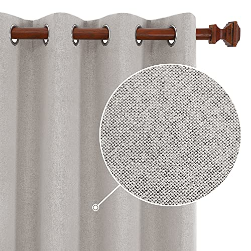 Deconovo Total Blackout Curtains, Living Room Curtains, Linen Look Textured Room Darkening Curtains 84 Inches Long for Living Room (52x84 Inch, 2 Panels, Natural)