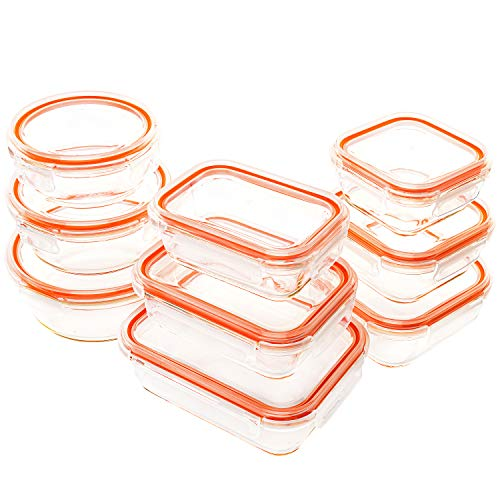 Set of 4 (35 oz) + 2 EXTRA EASY LIDS | JinaMart Large 1&2 Compartment Glass Meal Prep Containers Leak Proof Glass Bento Box Airtight Lunch Containers Microwave Safe Divider | Lids BPA Free (10 pcs)
