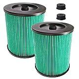 Filtro de repuesto para Craftsman 17912, 9-17912 HEPA para aspiradora en seco húmedo con material de filtro de aire de partículas de alta eficiencia, paquete de 2