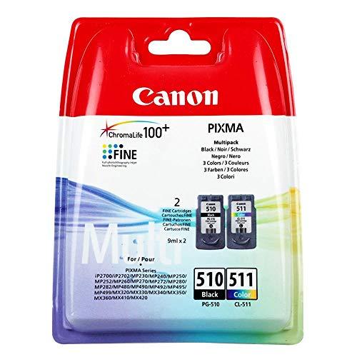 Canon Cartuccia dinchiostro PG-510 / CL-511 Originale Imballo multiplo Nero, Ciano, Magenta, Giallo 2970B010 Cartuccia