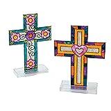 Fun Express - Cross Suncatcher W/Stand - Craft Supplies - Bulk Craft Accessories - Suncatchers - 12 Pieces