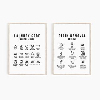 FDONTR Blanchisserie Symboles Guide Décoration Murale Lavage Séchage Salle Art Toile Peinture Impressions Et Affiches Buan...