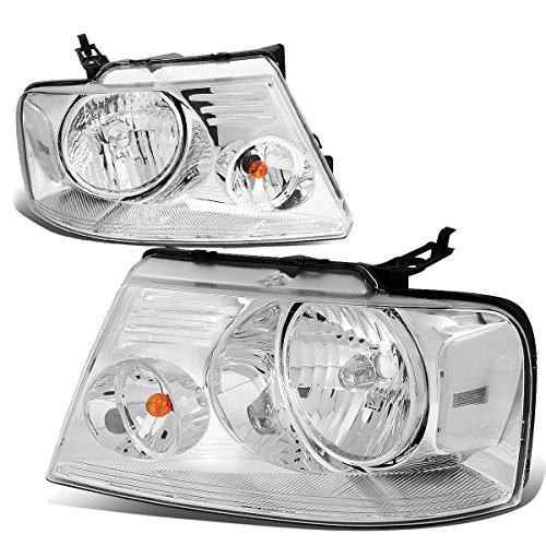 2PCS Chrome Housing Clear Corner Headlights Lamps Replacement for Ford F-150 11th Gen 04-08 / Lincoln Mark LT 06-08