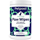 Petpost | Paw Wipes for Dogs - Cleans and Soothes Itchy Dog Paws - 70 Ultra Soft Large Cotton Pads in Coconut Oil, Jojoba Oil, and Aloe Cleaner (Cherry Blossom)