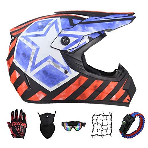 PNNNF Casco de motocross para nios y adolescentes, para bicicleta, mini motocross, cross, ATV Go  Kart  Naranja  M (55  56)
