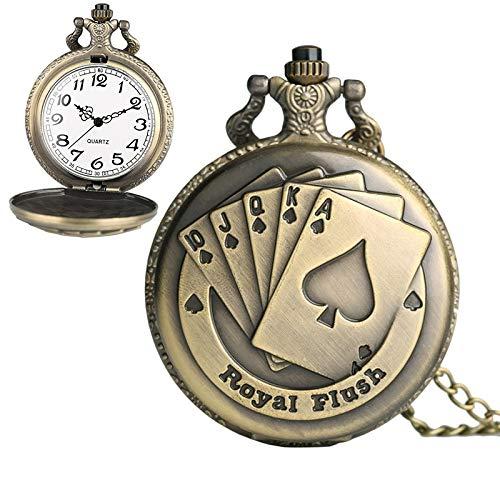 Uhren Spielkarte Muster Zink-Legierung Quarz wasserdichte Taschen-Uhr-Asun