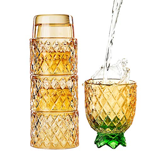 Diamond Star Stacking Glasses Fruit Set of 4 10 oz Cups Pear Pineapple Colorful Stackable Drinking Glass Sets Yellow with Green Leaf Glassware for Drinking Water, Bear