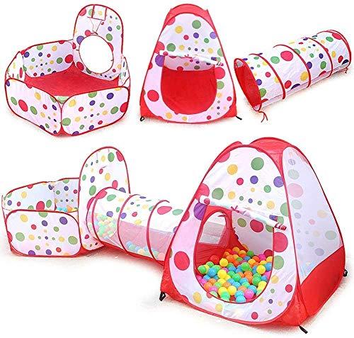 ZLZNX Campaña para Niños, Pop Up Infantiles Tiendas de Campaña Plegable Tienda de Juegos con Túnel y Piscina de Bolas para Interior y Exteriores
