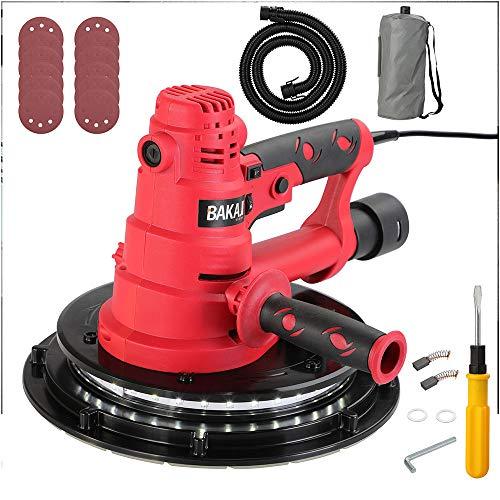 Bakaji Levigatrice Muro Soffitto Carteggiatrice Cartongesso 800W Potenza770-2100 rpm Aspirazione Polvere Automatica...