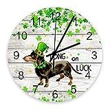 Decoración para el hogar Reloj de madera redondo de 10 pulgadas, lindo perro salchicha verde decoración silenciosa sin tictac número árabe, reloj con pilas, decoración de pared para sala de estar, coc