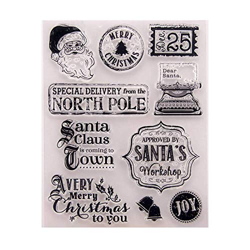 Santa Claus Merry Christmas Date Bell Rubber Stamps for Scrapbooking Card Making DIY Christmas Decoration Clear Stamps
