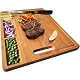 Large Organic Bamboo Cutting Board For Kitchen, With 3 Built-In...