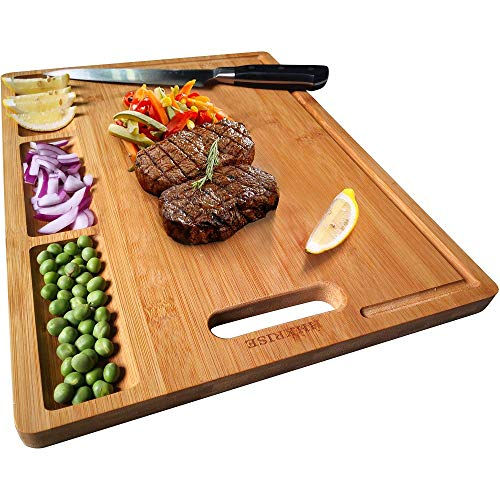 Large Organic Bamboo Cutting Board For Kitchen, With 3 Built-In Compartments And Juice Grooves,...