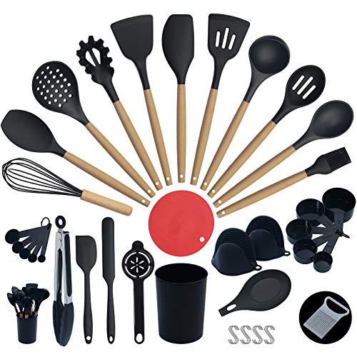 35pcs Kitchen silicone cooking utensils set, Kitchen gadget for non-stick cookware, Heat resistant kitchen utensils,Utensils Cooking set with wooden handle,Rubber Kitchen utensils. Wizskill (Black)