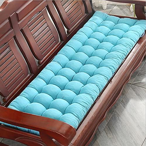 Cojín de banco rectangular de 8 cm de grosor, cojín suave, cojín para silla de jardín al aire libre, interior, color azul lago (55 x 165 cm)